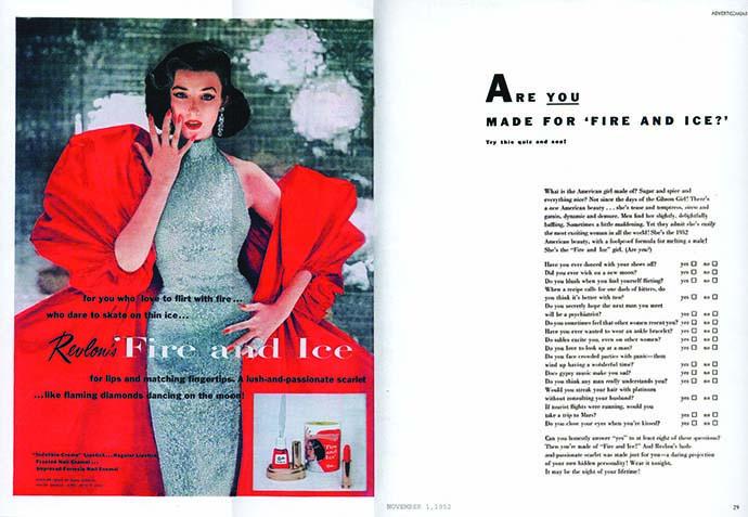 Revlon Fire and Ice Original advertisement 1952 Dorian Leigh