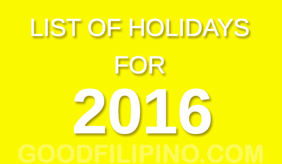 2016 Philippine nationwide holidays - List of Holidays for 2016