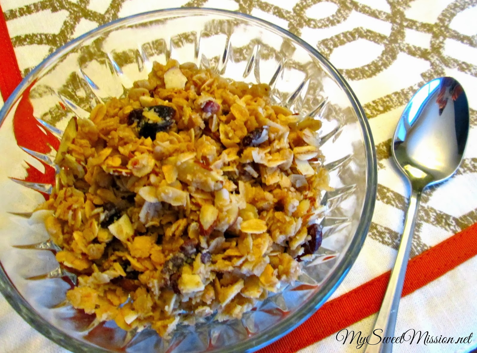 No Bake Cherry Almond Granola by MySweetMission.net
