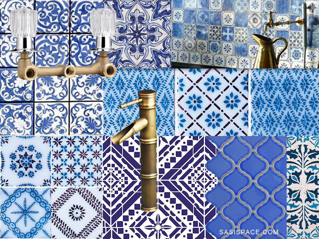 LET\'S STAY: WHITE & BLUE ceramic tiles and Brass Finish