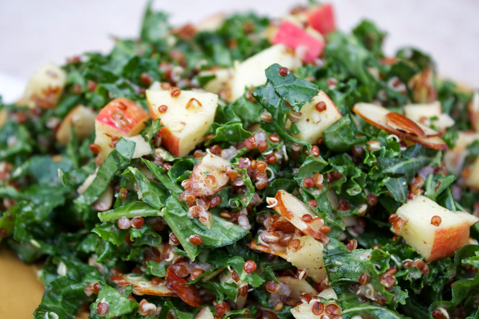 Stew or a Story: Kale Quinoa Apple Salad with Maple Almond Vinaigrette