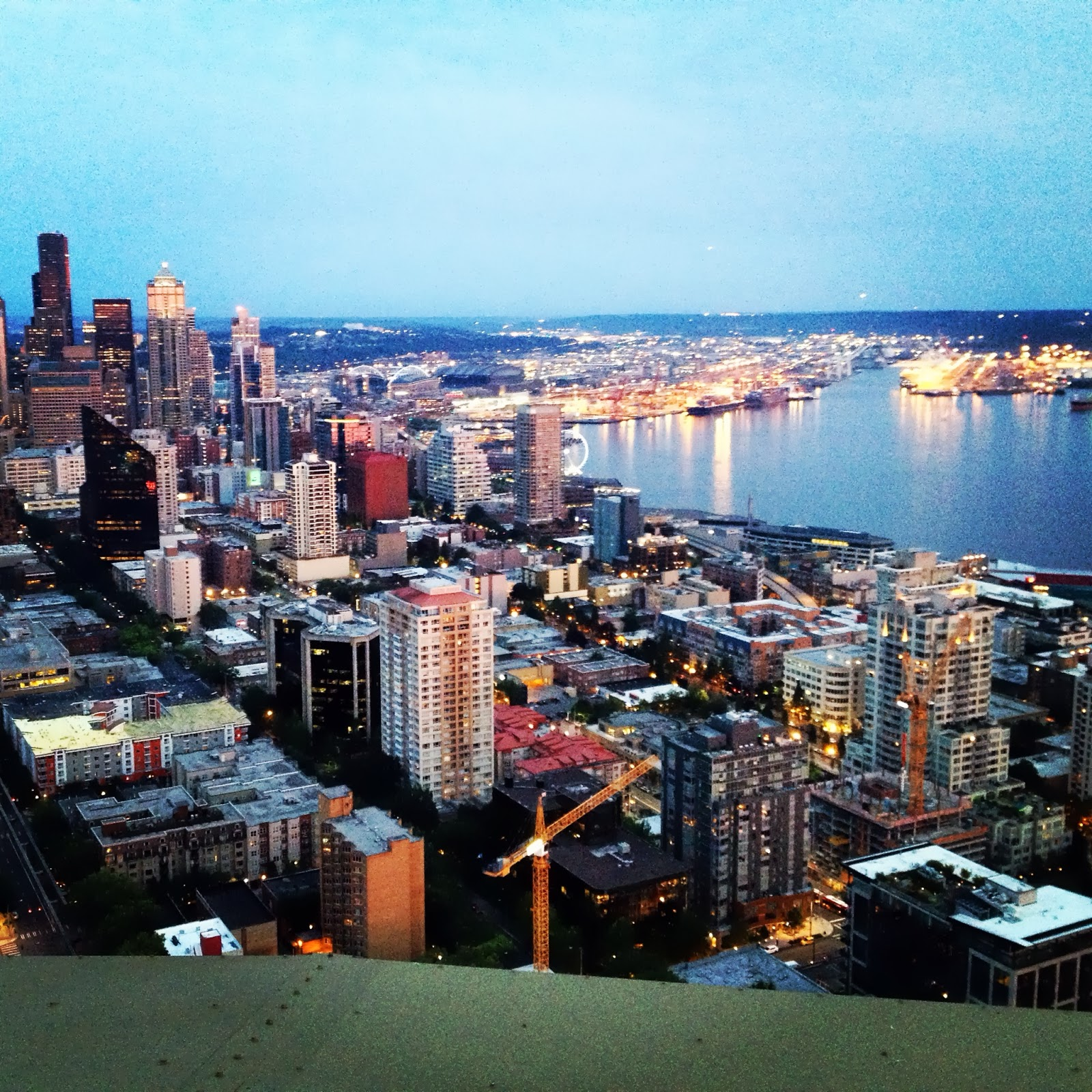 The nighttime view of Seattle from the Space Needle