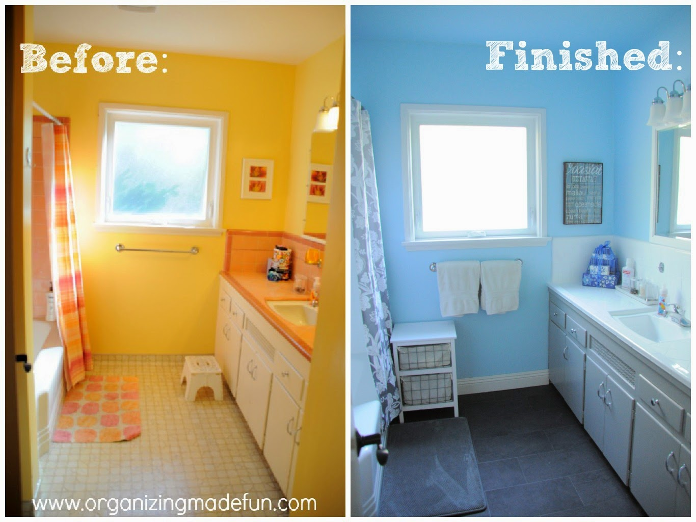 Before and after of reglazed bathroom :: OrganizingMadeFun.com
