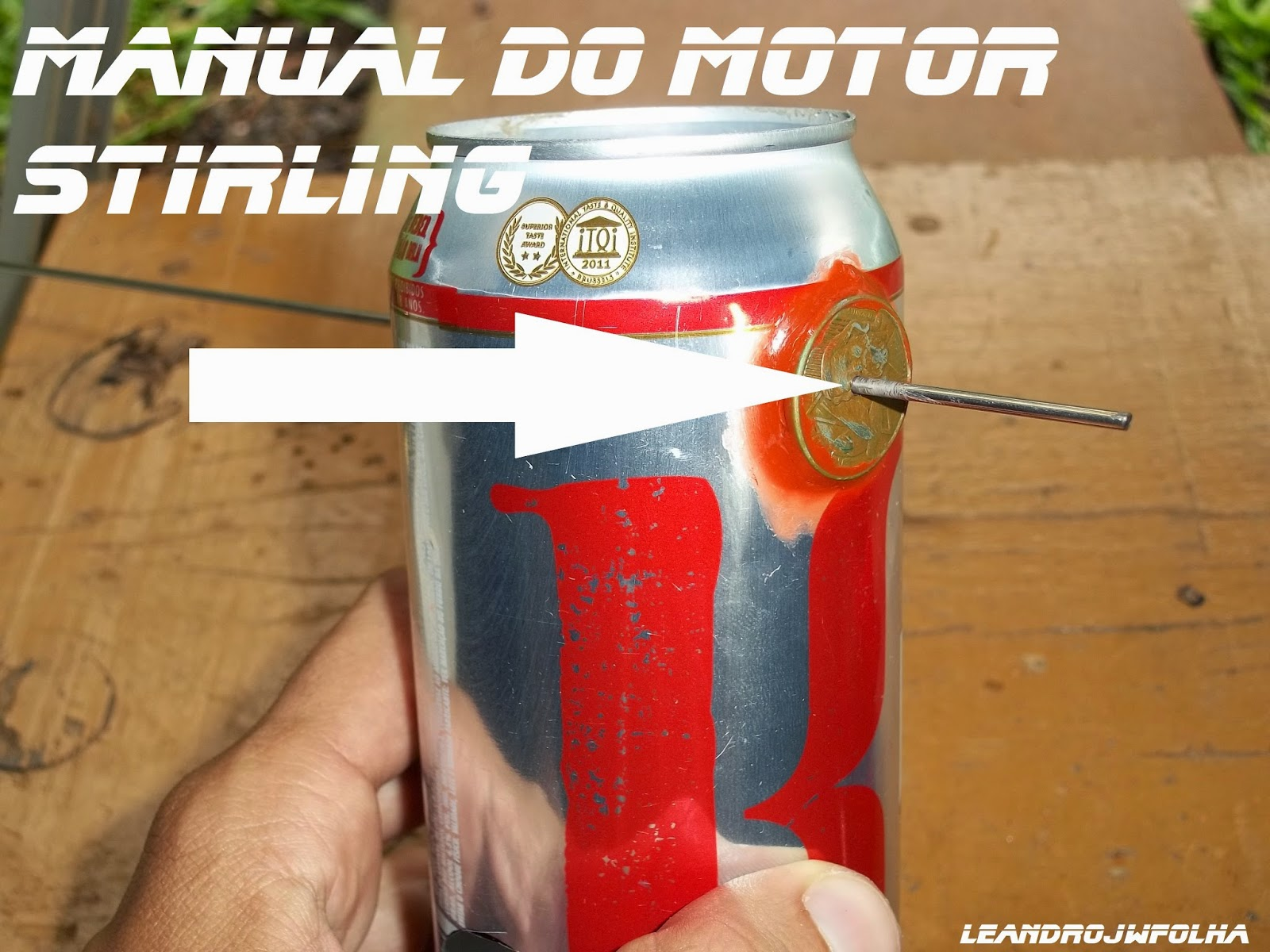 Manual do motor Stirling, mancais feito de moeda de 10 centavos