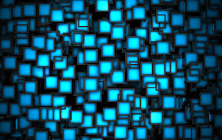 Blue Neon Squares HD Wallpaper