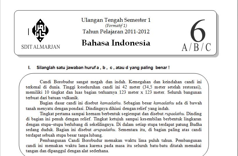 Download Soal Bahasa Indonesia Kelas 6 SD UTS Semester 1 2011-2012