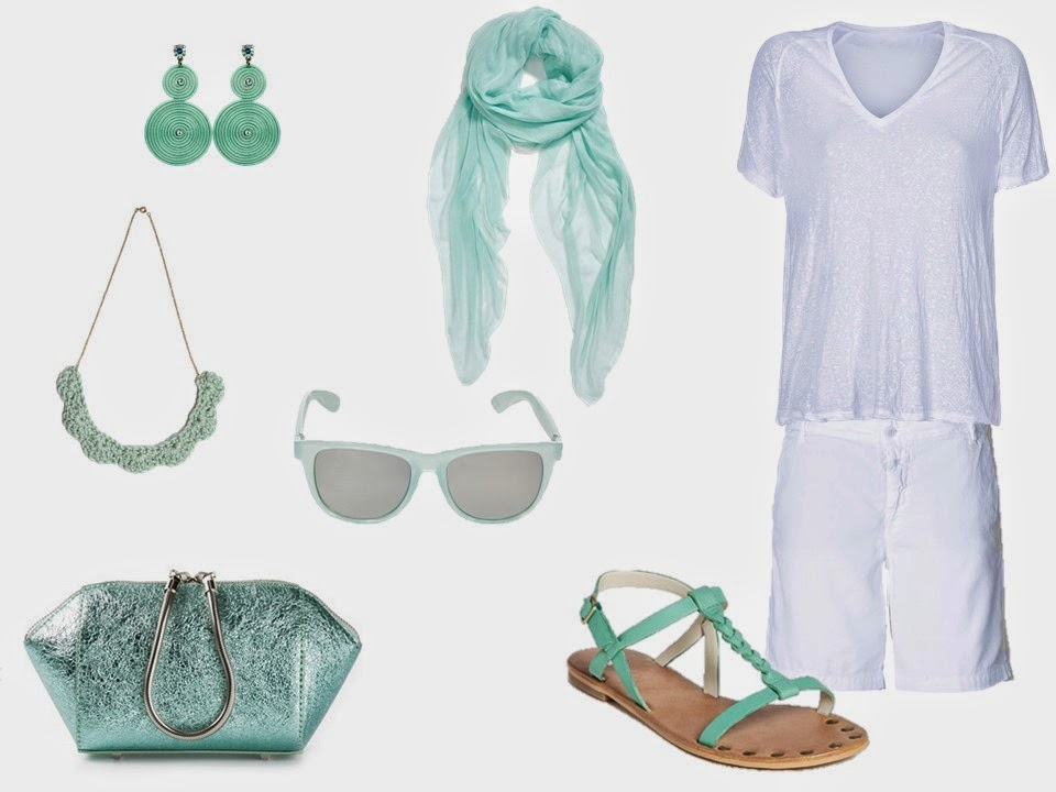 white linen tee shirt and shorts with soft mint green accessories