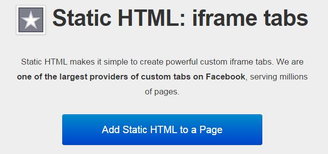 Static HTML pada fanspage