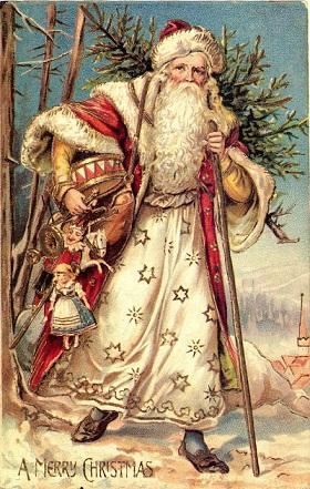Babbo Natale cartolina inglese fine secolo.