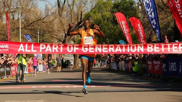2014 Melbourne Marathon race winner Dominic Ondoro