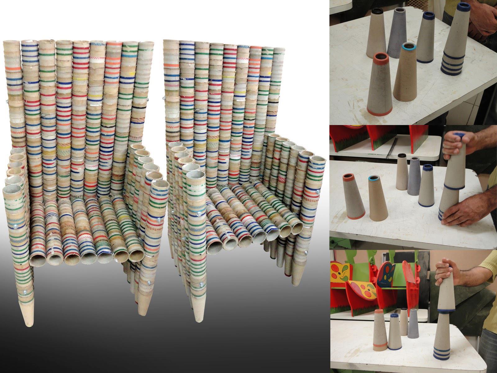 Cadeiras feitas de rolinhos de linha. #713B2E 1600x1200