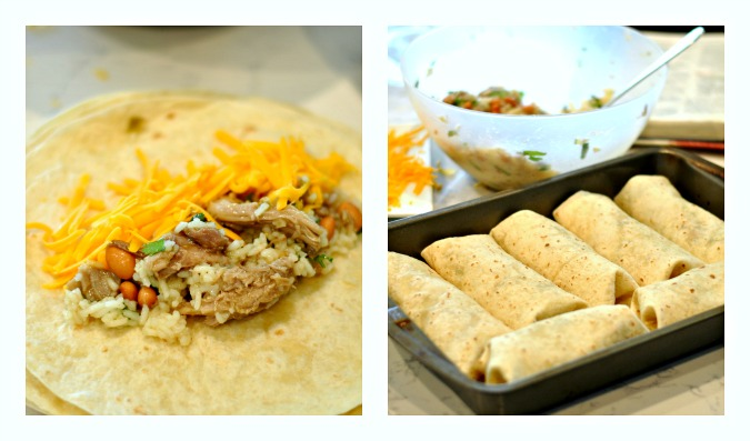 sweet pork burritos with green chile sour cream sauce