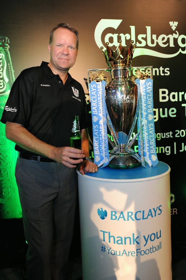 Henrik Juel Andersen, Managing Director of Carlsberg Malaysia with the official Barclays Premier League Trophy at Carlsberg's BPL Campaign Launch and Trophy Viewing