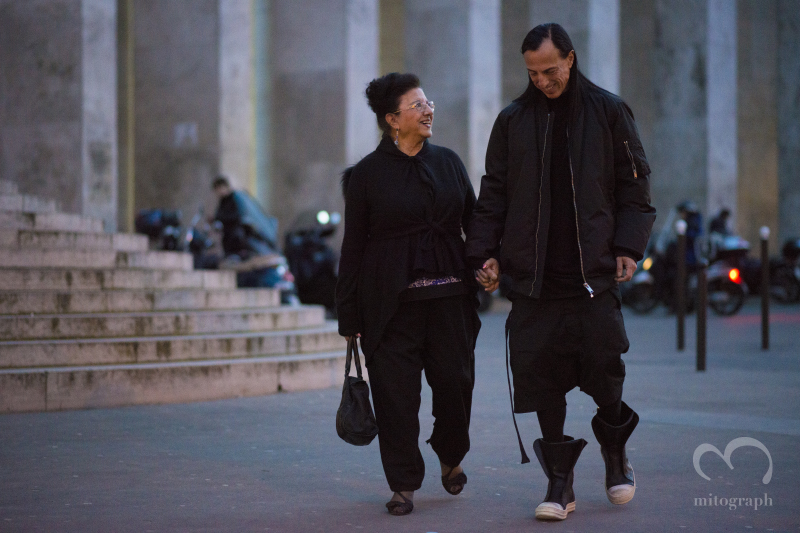Fashion Designer Rick Owens and his mother Connie Owens is leaving Gareth Pugh show during Paris Fashion Week PFW