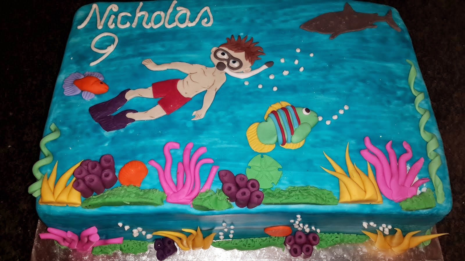 Nicholas's swimming in the sea cake