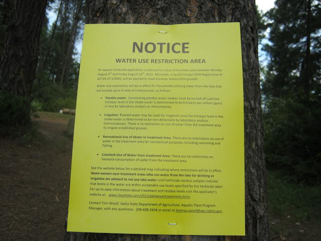 Lake Cocolalla, public access: notice