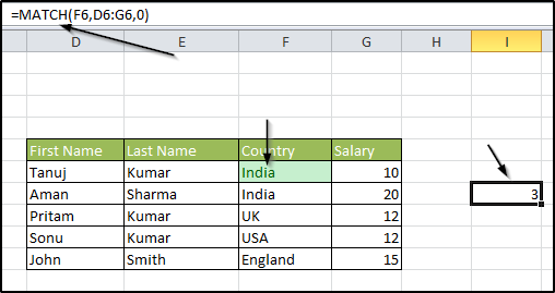 Match Formula in Excel