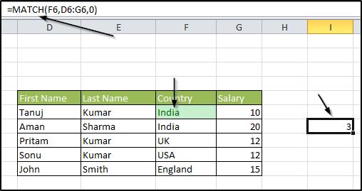 Match Formula in Excel