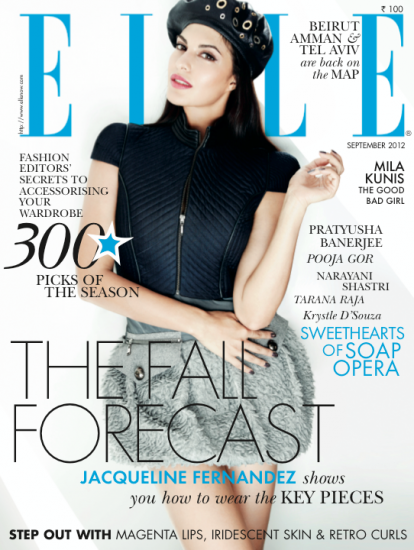 Jacqueline Fernandez Featured On Elle India September 2012