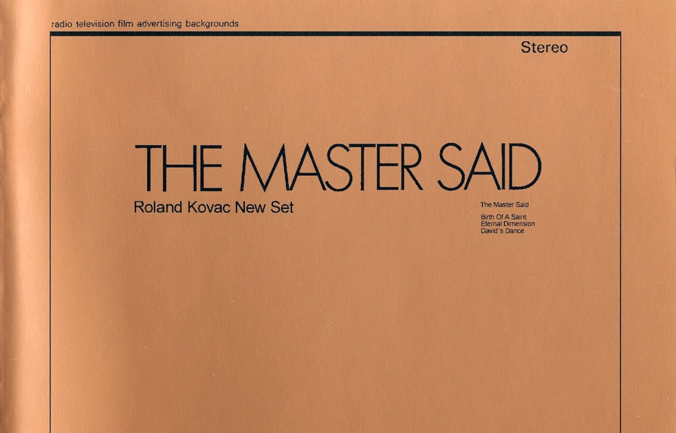 Roland Kovac New Set The Master Said