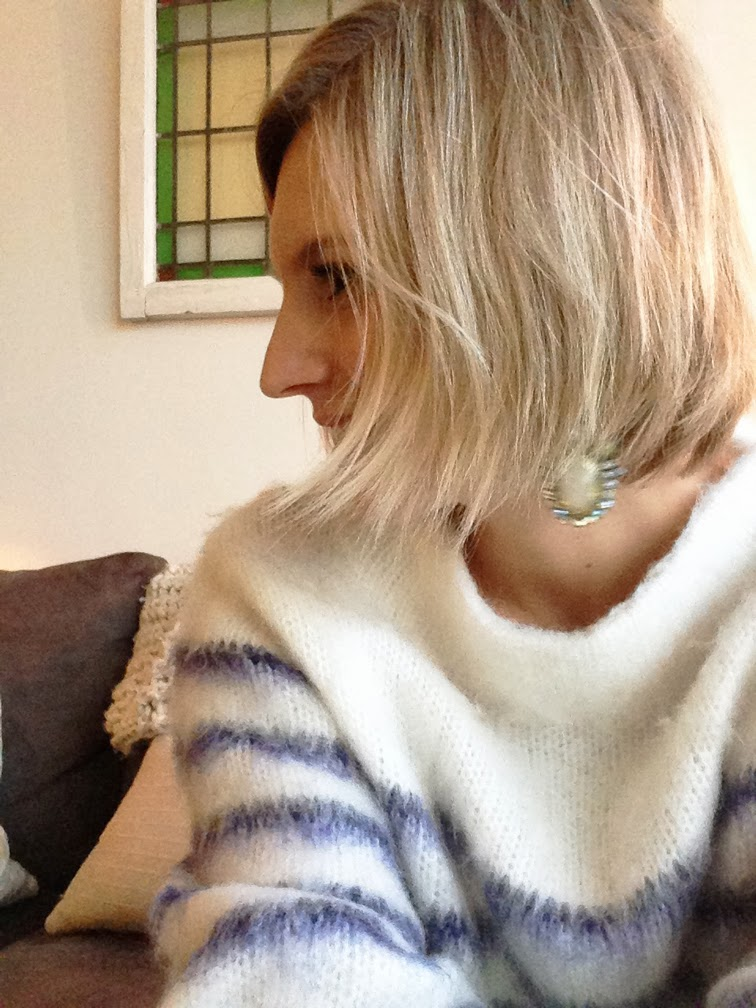 Hair cut big chop wispy blonde bob stripe knit bauble bar opal galactic earrings