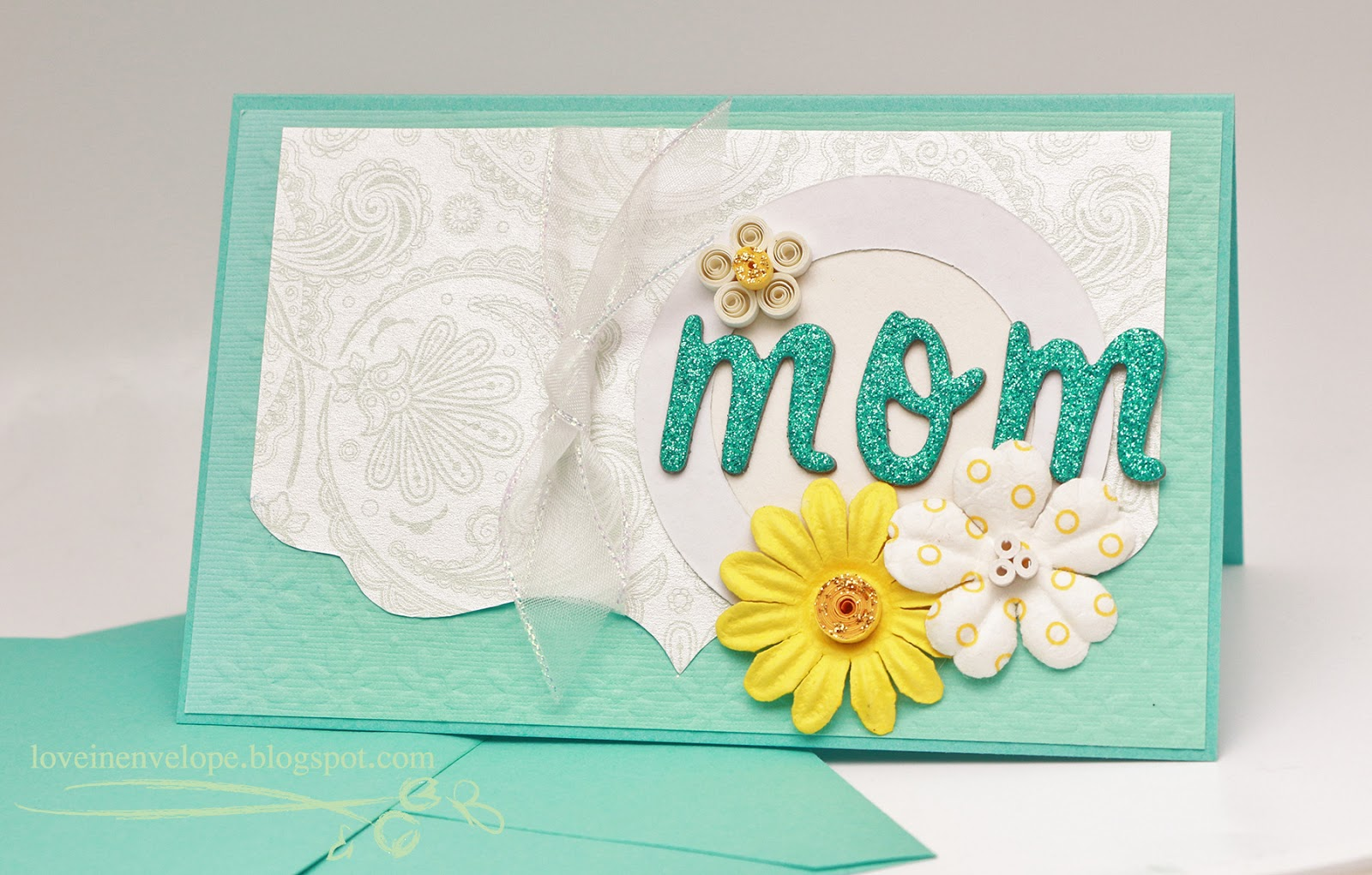 Love in Envelope: Tiffany Blue Quilling Handmade Card for Mom