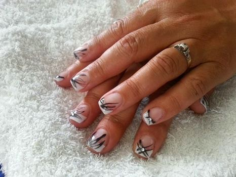 French white acrylics + Shellac Blackpool nail art and crystals