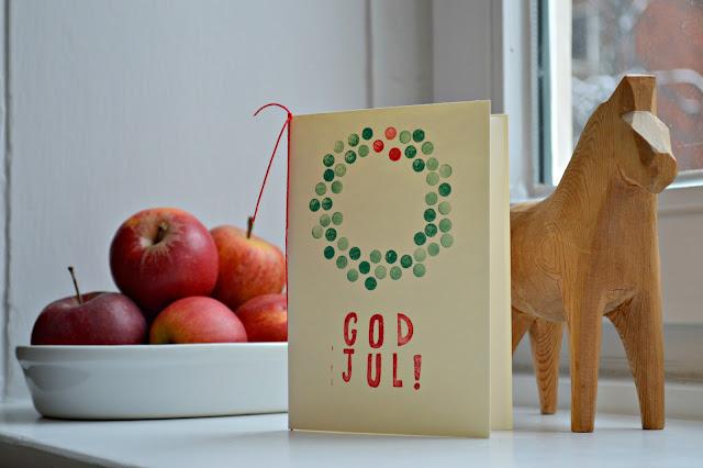 DIY Weihnachtskarte God Jul mit Kranz stempeln
