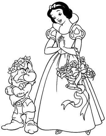 Dibujo de Blancanieves con el enanito Gruñón para colorear pintar