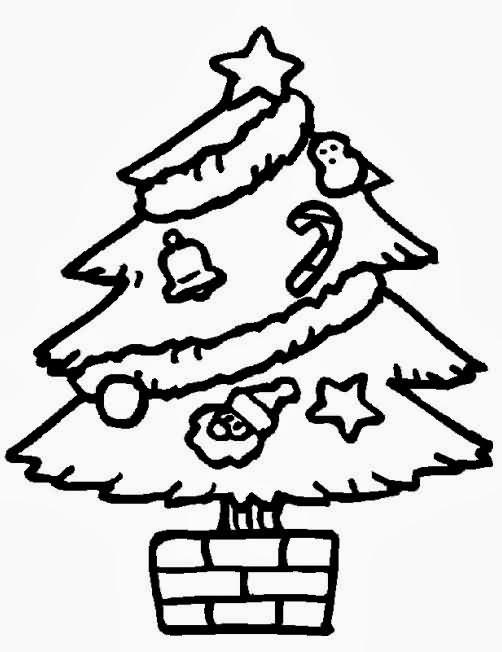 Árvore de Natal decorada para colorir