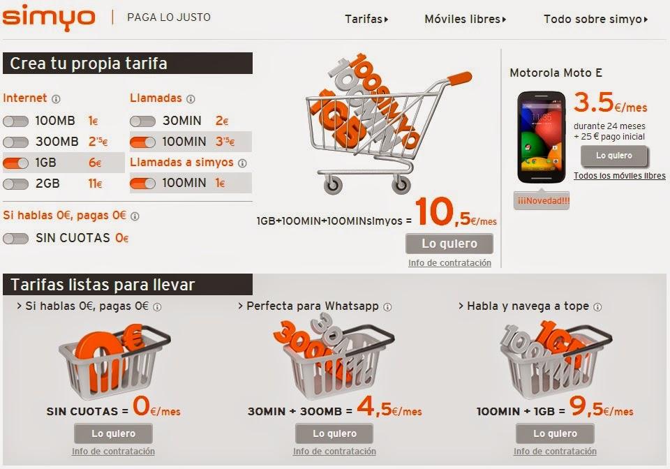 Nuevas tarifas de Simyo 2014