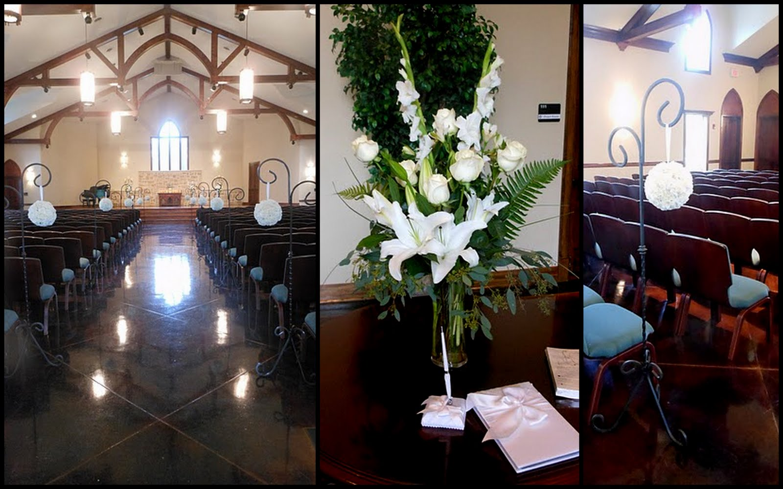 the ceremony was held at grace church in the woodlands and the all white color scheme was perfect for the dark interior of the chapel