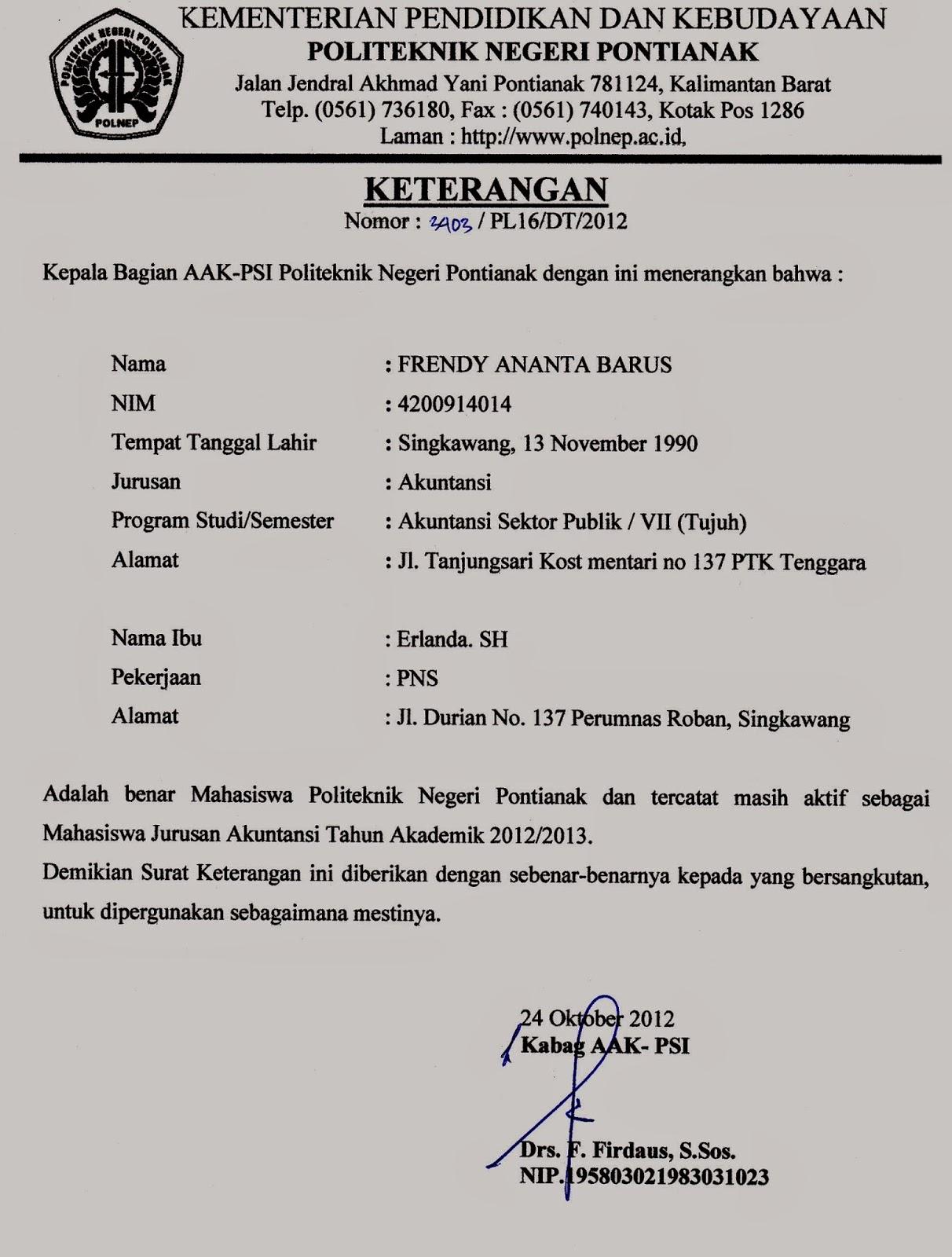 Surat Keterangan Aktif Kegiatan Organisasi April 2015