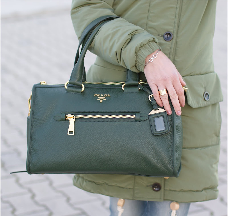 Prada green bag, Tiffany infinity bracelet, BVLGARI BZero ring