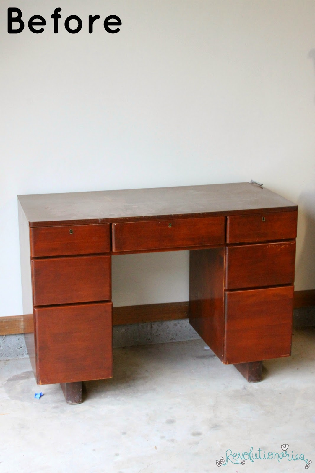 Before and After: The Gray Mid-Century Desk!