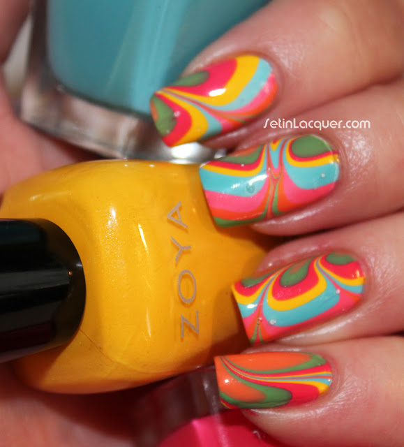 Water marble nail art with the Zoya Stunning Collection