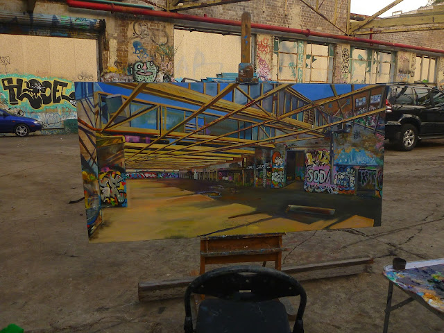 plein air painting of graffiti in the abandoned Dunlop-Slazenger factory by industrial heritage artist Jane Bennett