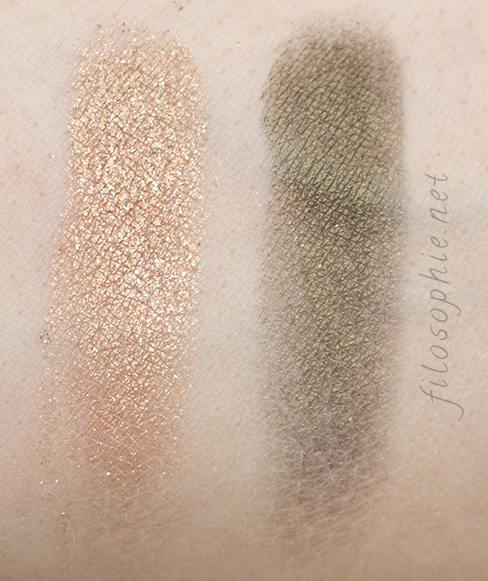 "The Face Shop LOVELY ME:EX YOU & EYES ""Party All Night"" Eyeshadow Sand Brown and Authentic Green Swatch"