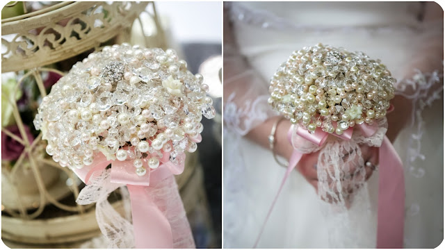 pearl and crystal bridal bouquet with pink and lace detail