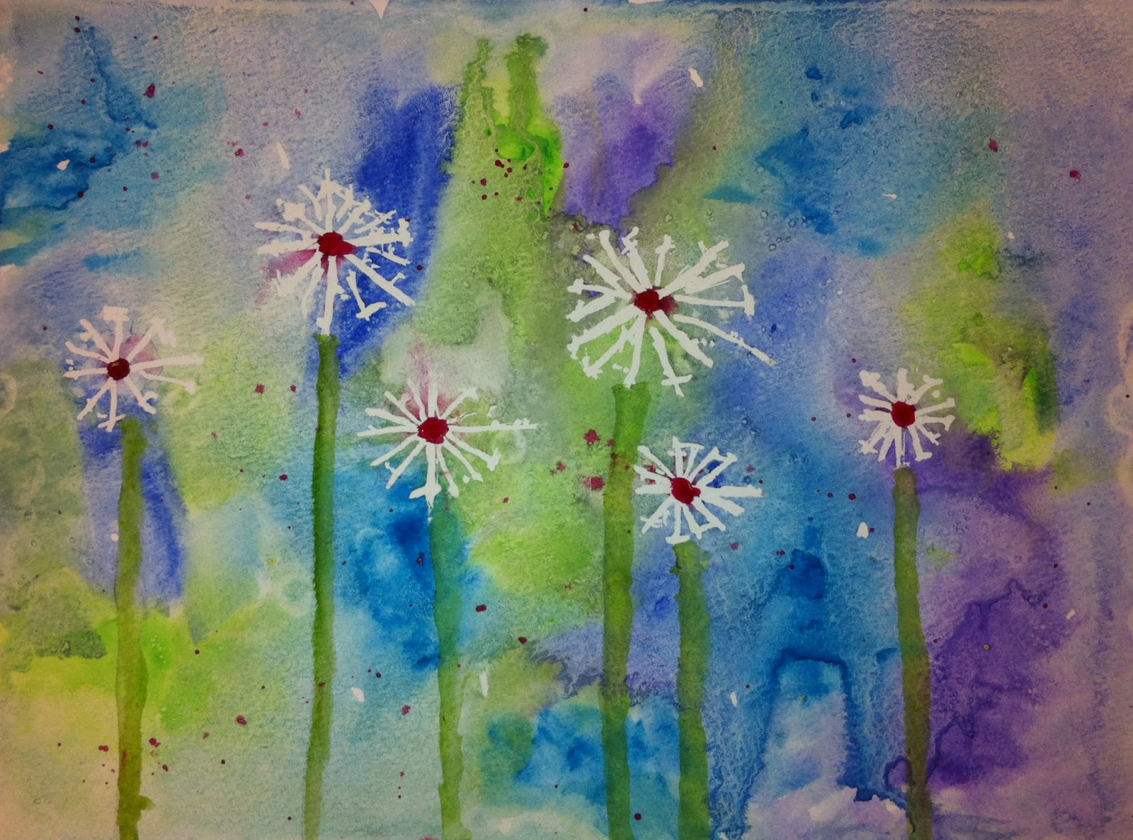 Angela Anderson Art Blog: Dandelion Watercolor - Kid\'s Art Class