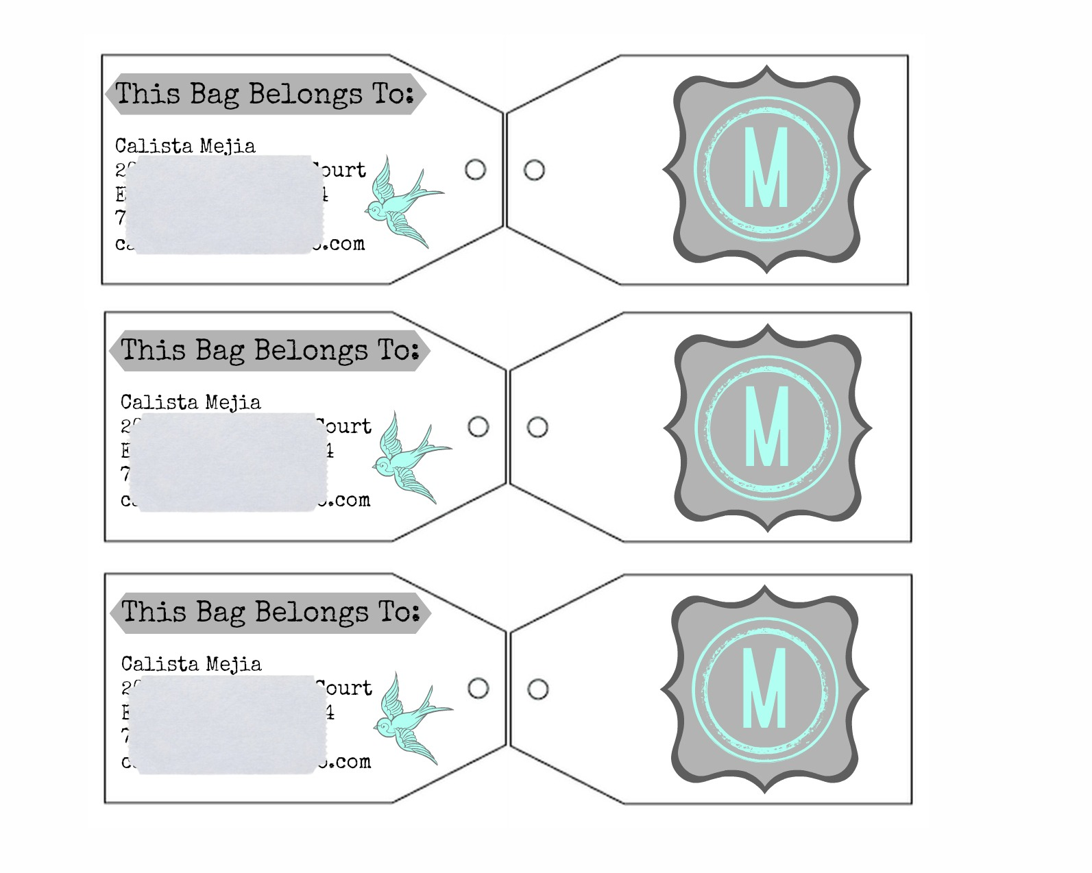Mejia Mamma DIY Luggage Tags – Bag Tag Template