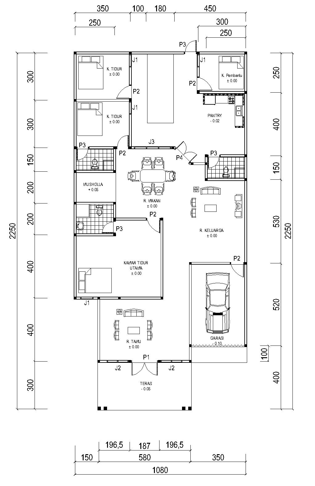 Denah Rumah Ukuran 108 M X 225 M
