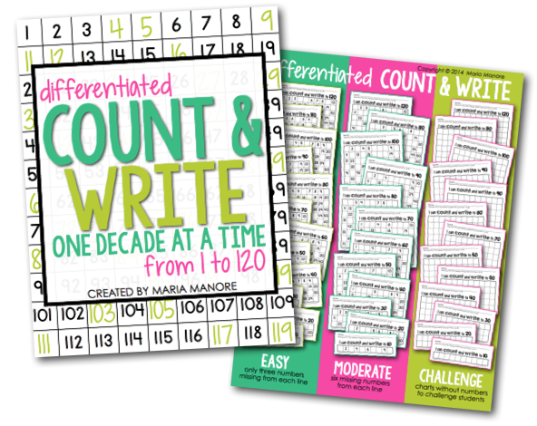 Differentiated Counting pages for numbers 10-120