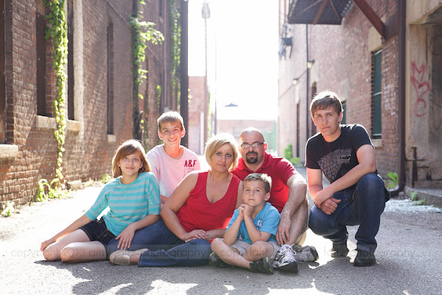 urban portrait of  family in an alley in downtown Terre Haute, IN