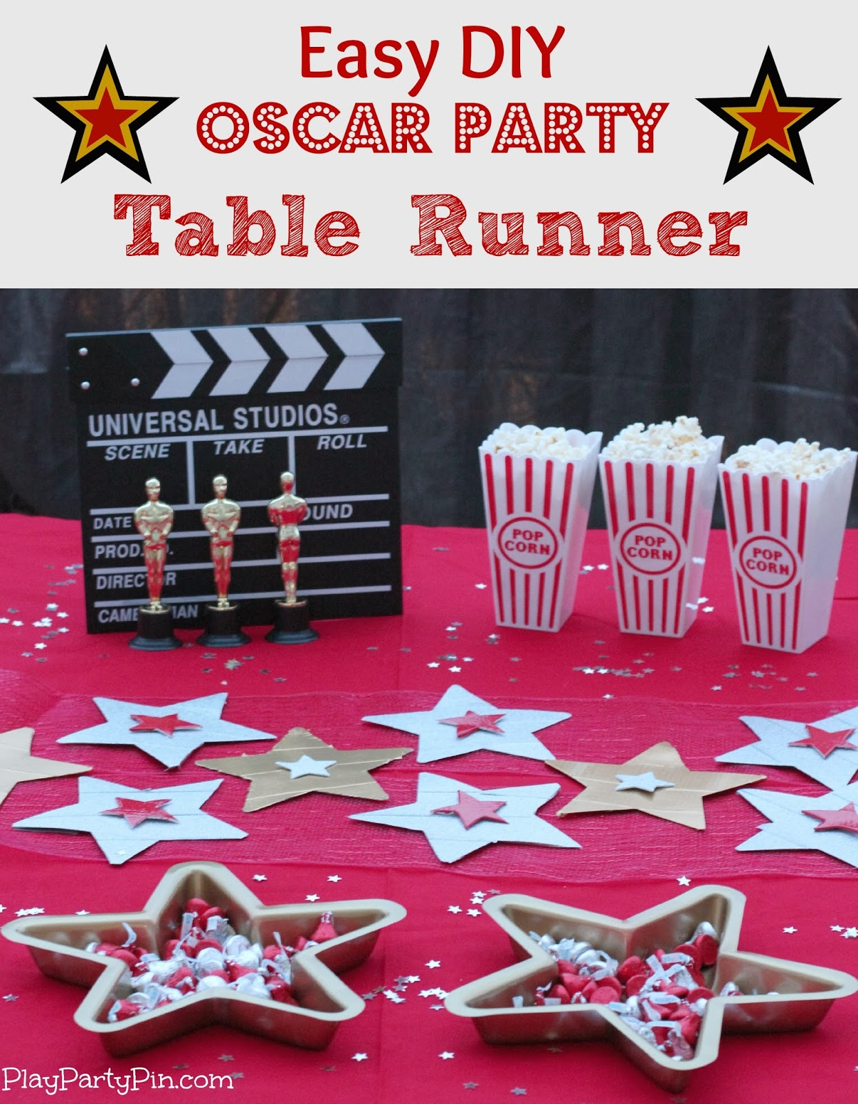 Easy DIY Oscar Party Table Runner using #DuckCraftTape #sponsored