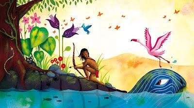 Illustration d'un enfant dans la forêt tropicale, qui se trouve sur le dos d'une tortue géante