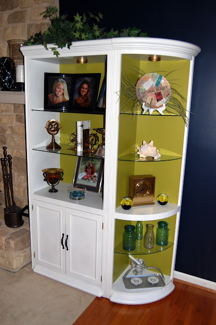 """white bookcase lime paint"