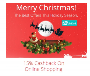 Mobikwik: Get 15% Mobikwik Cashback on all sites for this christmas