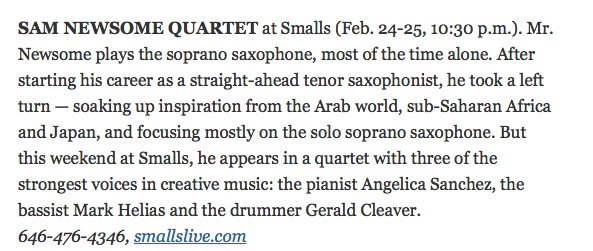 New York Times Jazz Pick (Blurb)