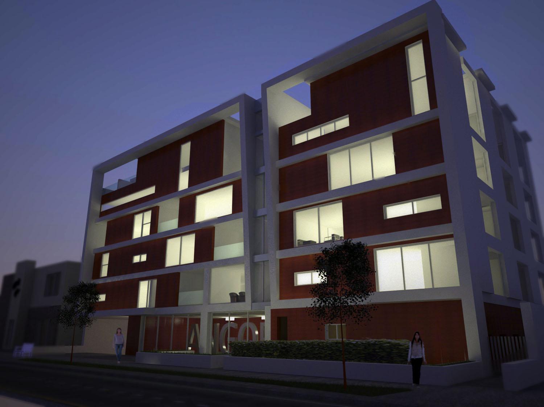 Ngel gonz lez ramos fachada de edificio vista nocturna for Fachadas contemporaneas de edificios